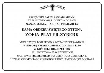 Zawiadomienie o śmierci Zofii Plater-Zyberk